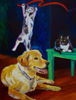 Hank and Cattle - Canine Gallery - Wildwood Studio - Kristine Byars